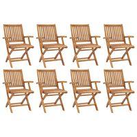 vidaXL Folding Garden Chairs 8 pcs Solid Teak Wood