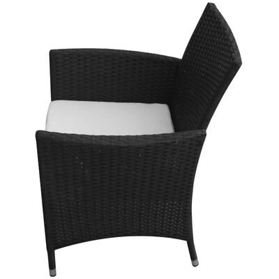 vidaXL 7 Piece Outdoor Dining Set with Cushions Poly Rattan Black