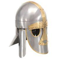 vidaXL Medieval Helmet Antique Replica LARP Silver Steel