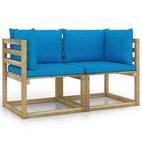 vidaXL Garden Corner Sofas & Cushions 2 pcs Green Impregnated Pinewood