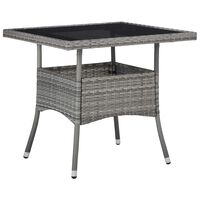 vidaXL Outdoor Dining Table Grey Poly Rattan and Glass