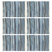 vidaXL Placemats 6 pcs Chindi Denim Blue 30x45 cm Cotton