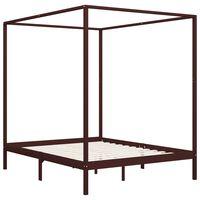 vidaXL Canopy Bed Frame Dark Brown Solid Pine Wood 6FT Super King