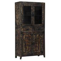 vidaXL Highboard Black 90x40x180 cm Solid Mango Wood