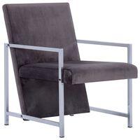 vidaXL Armchair with Chrome Feet Dark grey Velvet