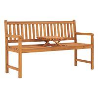 vidaXL 3-Seater Garden Bench with Table 150 cm Solid Teak Wood