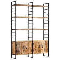 vidaXL 4-Tier Bookcase 124x30x180 cm Rough Mango Wood