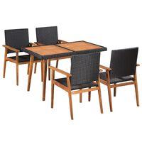 vidaXL 5 Piece Outdoor Dining Set Poly Rattan Black and Brown