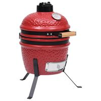 vidaXL 2-in-1 Kamado Barbecue Grill Smoker Ceramic 56 cm Red