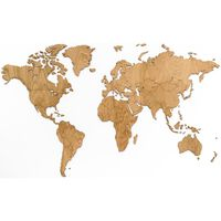 MiMi Innovations Wooden World Map Wall Decoration Exclusive Oak 130x78 cm