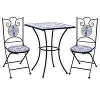 vidaXL 3 Piece Mosaic Bistro Set Ceramic Tile Blue and White
