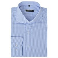vidaXL Men's Business Shirt White and Blue Stripe Size M
