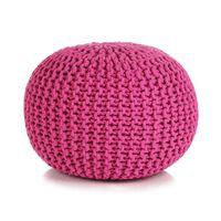 vidaXL Hand-Knitted Pouffe Cotton 50x35 cm Pink