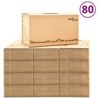 vidaXL Moving Boxes Carton XXL 80 pcs 60x33x34 cm