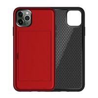 Clúdach Iphone 11 Pro Max Le Sliotán Cárta Tpu / Pc Red