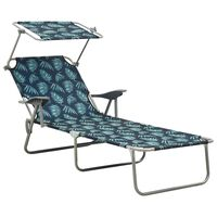 vidaXL Sun Lounger with Canopy Steel Leaf Print