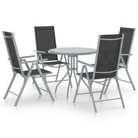 vidaXL 5 Piece Garden Dining Set Aluminium and Textilene Silver