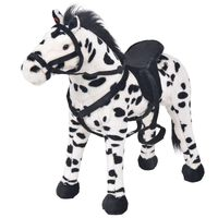 vidaXL Standing Plush Toy Horse Black and White XXL