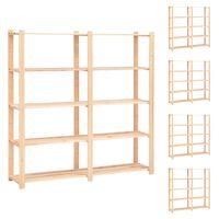 vidaXL 5-Tier Storage Racks 5 pcs 170x38x170 cm Solid Pinewood 500 kg