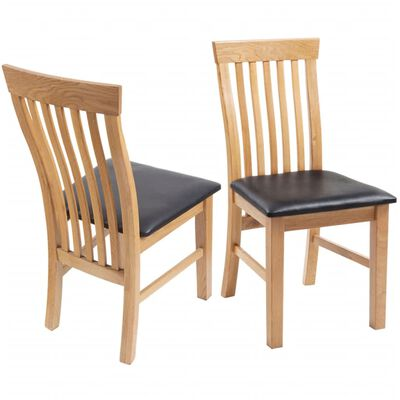vidaXL Dining Chairs 2 pcs Solid Oak Wood and Faux Leather