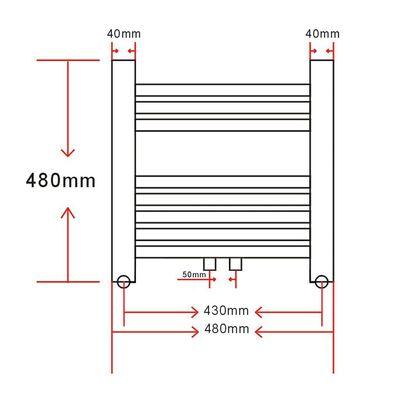 Bathroom Central Heating Towel Rail Radiator Straight 480 x 480 mm