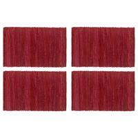 vidaXL Placemats 4 pcs Chindi Plain Burgundy 30x45 cm Cotton