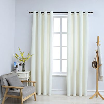 vidaXL Blackout Curtains with Rings 2 pcs Velvet Cream 140x225 cm