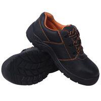 vidaXL Safety Shoes Black Size 11.5 Leather