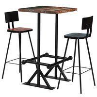 vidaXL Bar Set 3 Piece Solid Reclaimed Wood Multicolour
