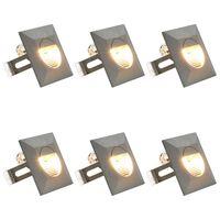 vidaXL Outdoor LED Wall Lights 6 pcs 5 W Silver Square
