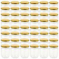 vidaXL Glass Jam Jars with Gold Lid 48 pcs 230 ml