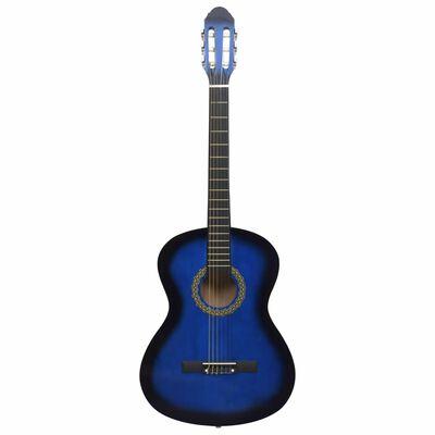 """vidaXL 12 Piece Classical Guitar Beginner Set Blue 4/4 39"""""""