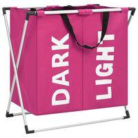 vidaXL 2-Section Laundry Sorter Pink