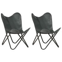 vidaXL Butterfly Chairs 2 pcs Grey Kids Size Real Leather