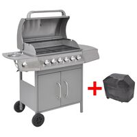 vidaXL Gas Barbecue Grill 6+1 Cooking Zone Silver