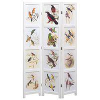 vidaXL 3-Panel Room Divider White 105x165 cm Bird