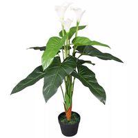 vidaXL Artificial Calla Lily Plant with Pot 85 cm White