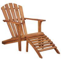 vidaXL Garden Adirondack Chair with Footrest Solid Acacia Wood