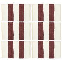 vidaXL Placemats 6 pcs Chindi Stripe Burgundy and White 30x45 cm