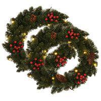 vidaXL Christmas Wreaths 2 pcs with Decoration Green 45 cm
