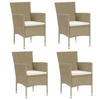 vidaXL Garden Dining Chairs 4 pcs Poly Rattan Beige