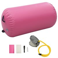 vidaXL Inflatable Gymnastic Roll with Pump 120x90 cm PVC Pink
