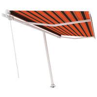 vidaXL Freestanding Manual Retractable Awning 450x300 cm Orange/Brown