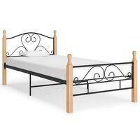 vidaXL Bed Frame Black Metal 100x200 cm