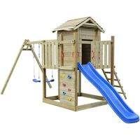 vidaXL Playhouse Set with Ladder, Slide and Swings 557x280x271 cm Wood