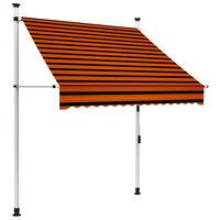 vidaXL Manual Retractable Awning 150 cm Orange and Brown