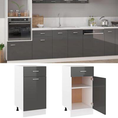 vidaXL Drawer Bottom Cabinet High Gloss Grey 40x46x81.5 cm Chipboard