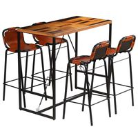 vidaXL Bar Set 5 Pieces Solid Reclaimed Wood and Genuine Goat Leather