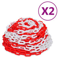 vidaXL Warning Chains 2 pcs Red and White Plastic 30 m