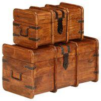 vidaXL Treasure Chest Set 2 Pieces Solid Acacia Wood Sheesham Finish